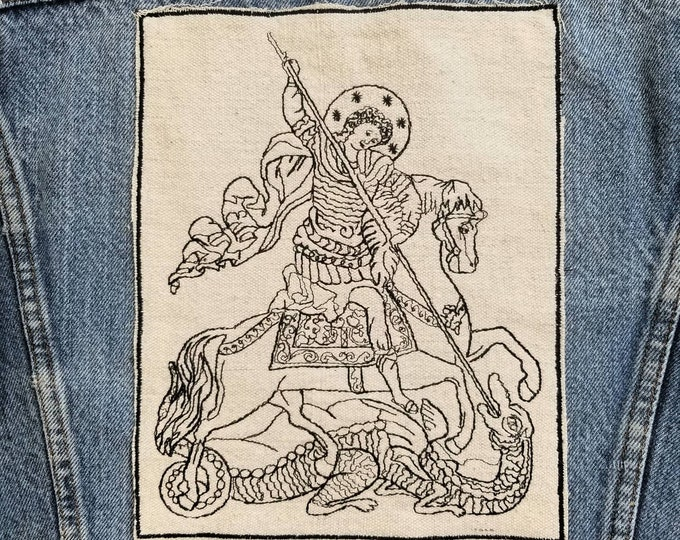 Embroidered St. George and the Dragon Upcycled Canvas Jacket Back Patch