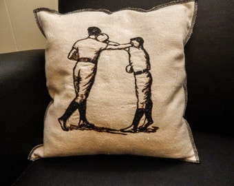 Boxing 1 Embroidered Modern Vintage Graphic Upcycled Canvas Embroidered Pillow
