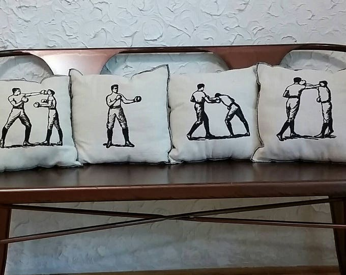 Set of Four Embroidered Upcycled Canvas Vintage Graphic Boxing Pillows