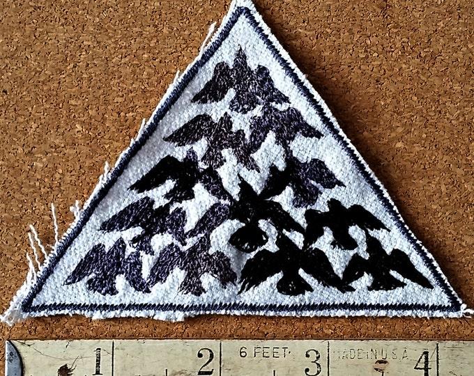 Handmade HandmadeBird Flock Black Embroidered Vintage Graphic Bird Upcycled Canvas Jacket Hat Patch