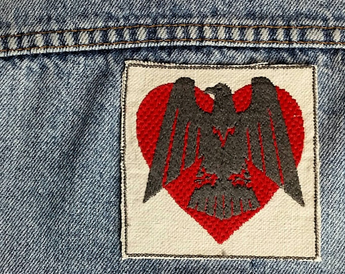 Handmade Embroidered Vintage Graphic Eagle Heart Upcycled Canvas Iron On  Punk Jacket Patch