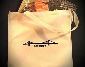 Embroidered Williamsburg Bridge Brooklyn Canvas Tote Bag