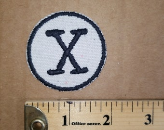 Embroidered X Monogram Iron On Patch