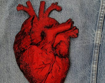 Handmade Embroidered Vintage Graphic Heart Jacket Iron On Patch
