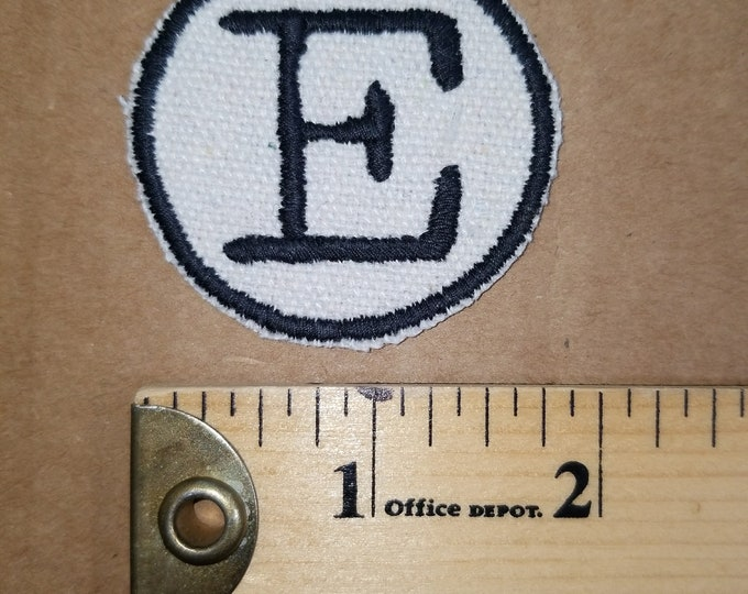 Embroidered E Monogram Canvas Iron On Patch