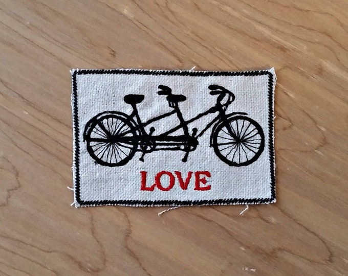 Handmade Embroidered Tandem Bike Love Upcycled Canvas Iron On Jacket Patch Wedding Favor