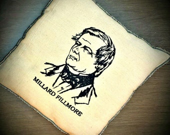President Embroidered Millard Fillmore Vintage Graphic Pillow
