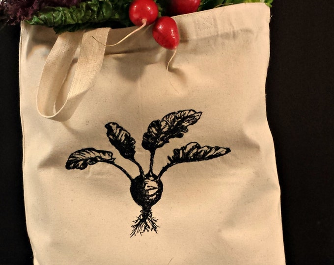 Handmade Farmer's Market Beet Embroidered Vintage Graphic Reusable Tote