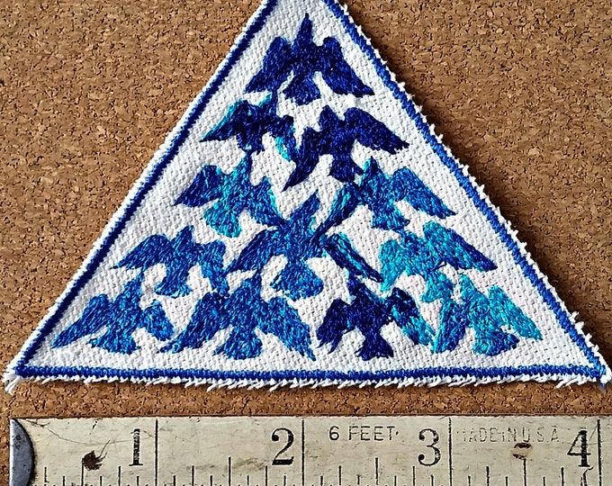 Handmade HandmadeBird Flock Blue Embroidered Vintage Graphic Upcycled Canvas Jacket Patch