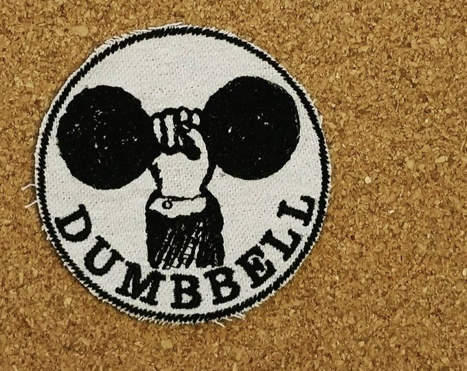 HandmadeEmbroidered Dumbbell Upcycled Canvas Iron On Patch