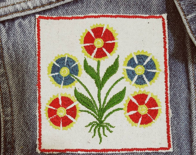 Embroidered Upcycled Canvas Flower Patch