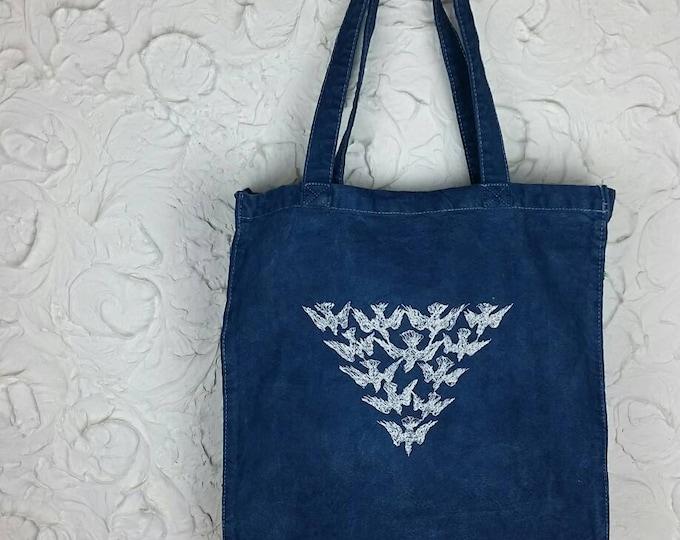 Indigo Dyed Modern Embroidered Bird Flock Vintage Graphic Canvas Artisan Made Tote Bag