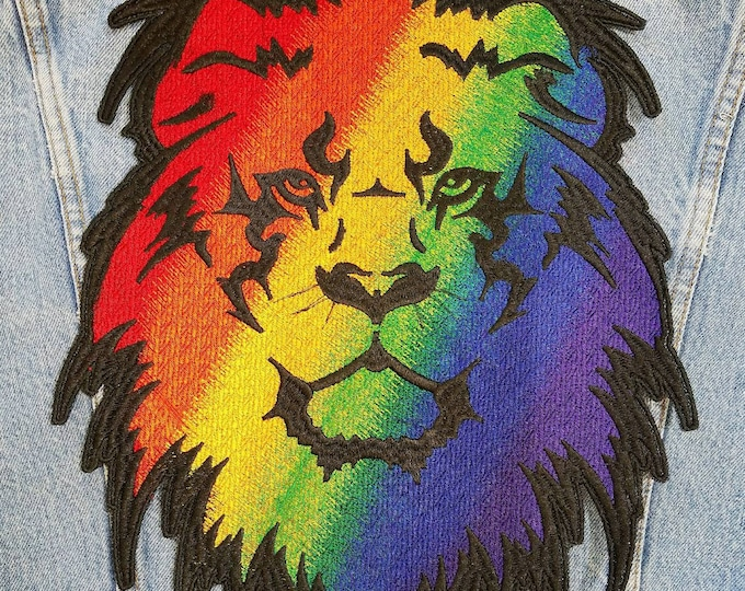 Embroidered Iron On Rainbow Pride Lion Back Patch