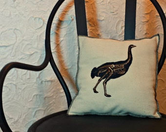 Modern Vintage Graphic Embroidered Ostrich Bird Skeleton Upcycled Canvas Pillow