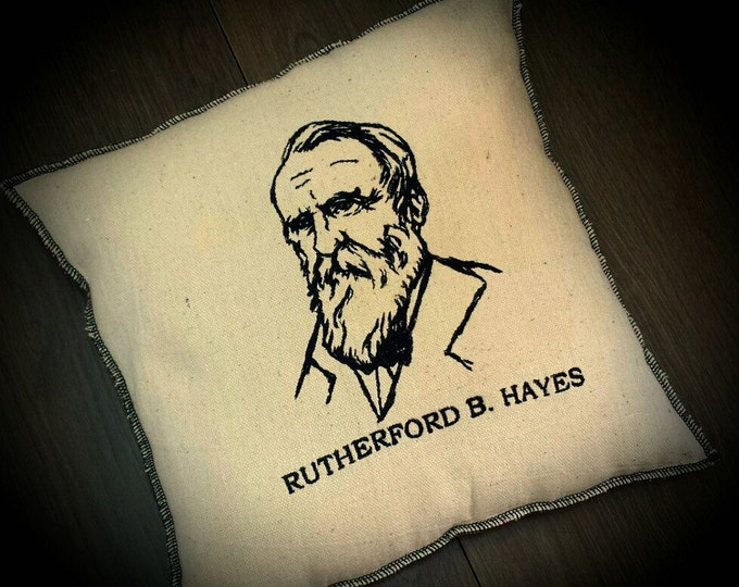 President Embroidered Upcycled Canvas Rutherford B. Hayes Vintage Graphic Pillow