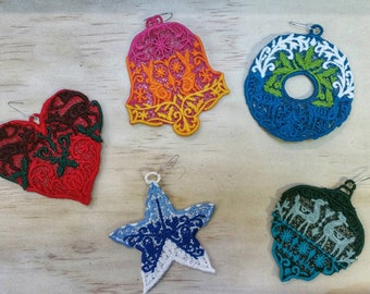 Set of Five Embroidered  Folkloric Christmas  Ornaments