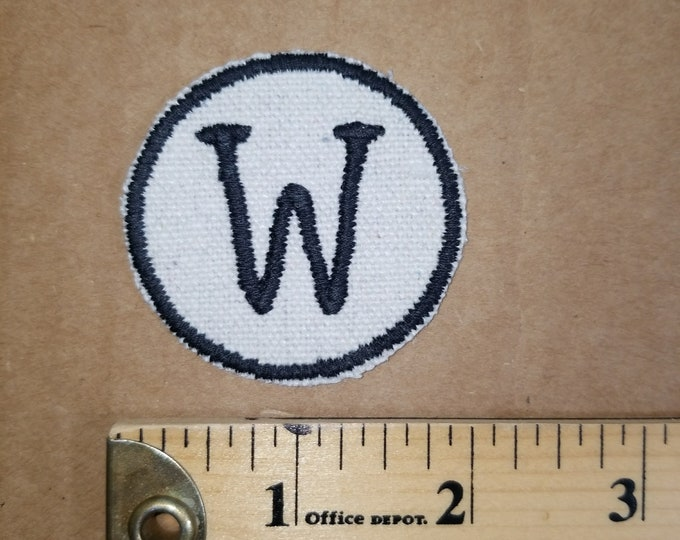 Embroidered W Monogram Iron On Patch