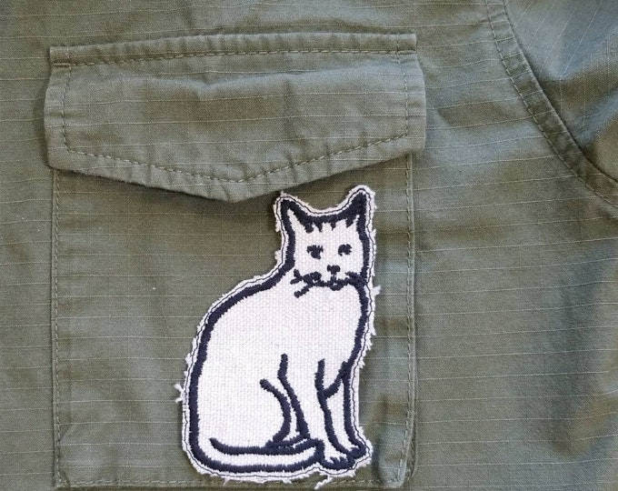 Embroidered Upcycled Canvas Cat Patch