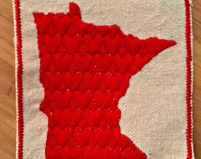 HandmadeEmbroidered Heart Minnesota Upcycled Canvas Jacket Patch