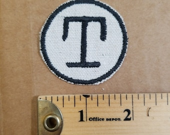 Embroidered T Monogram Iron On Patch
