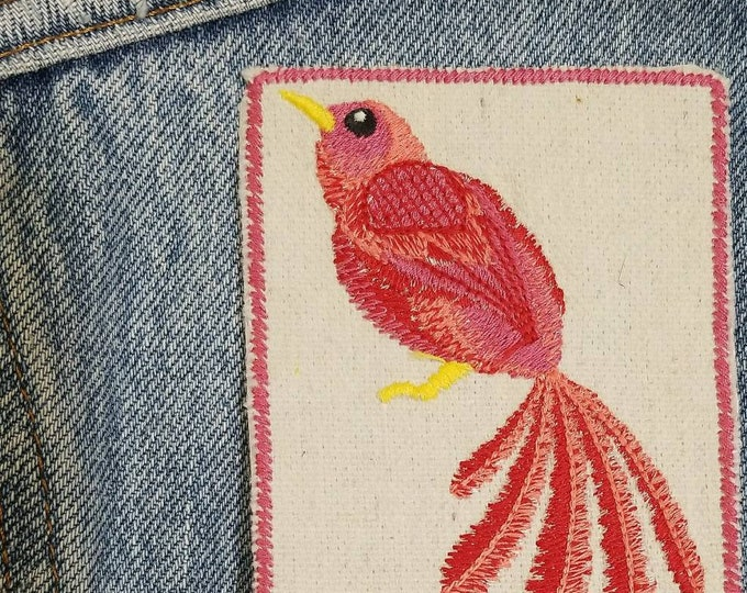 Pink Bird Embroidered Patch