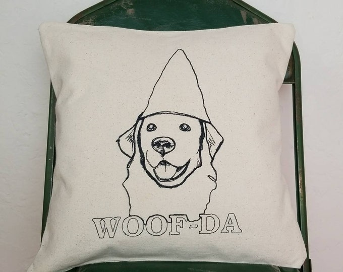 Embroidered Gnome Dog Woof-da Pillow