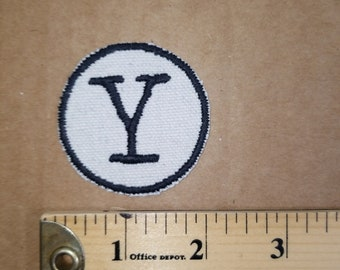 Embroidered Y Monogram Iron On Patch