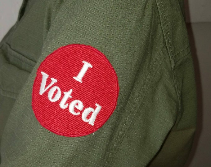 Handmade Embroidered I Voted Iron On Patch