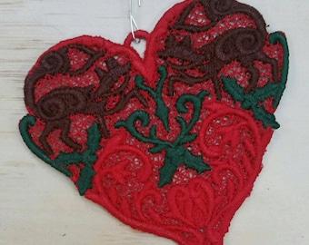 HandmadeEmbroidered Folkloric Fox Heart Holiday Ornament