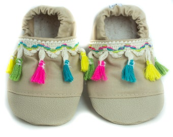 fa7f5926a4b NON-SLIP Tan and colorful Tassel Baby Shoes
