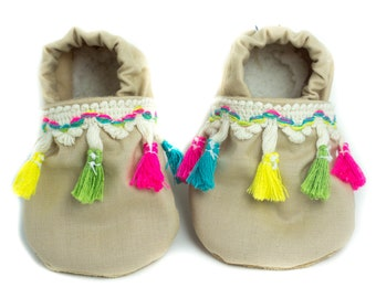 3cfa303d9a6 Tan and colorful Tassel Baby Shoes