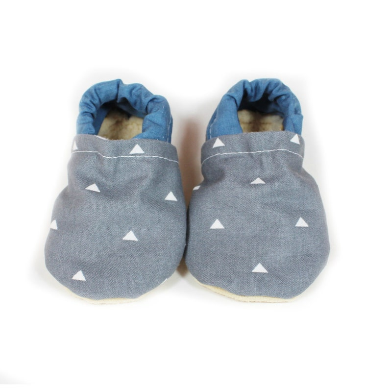 Denim triangle baby moccs baby shoes