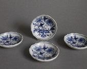 Set of 4 Butter Pat 1st Meissen Blue Onion Pattern Crossed Swords マイセン