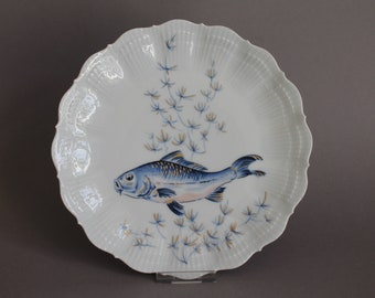Giraud Limoges France Shell Shaped Candy  Nut Dish Blue Coral Pattern