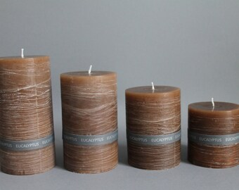 EUCALYPTUS Scented  & Rustic Pillar Candle Colored Through And Handmade In 4 Sizes