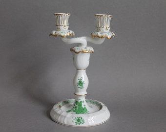 Double Light Candlestick Herend Chinese Bouquet Green 7915 AV