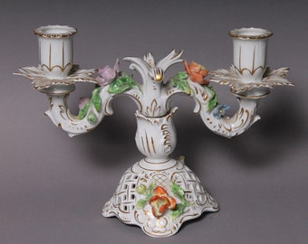 Original Dresden Porcelain Candle stand chandelier H. 17 cm Dresden Potschappel #1