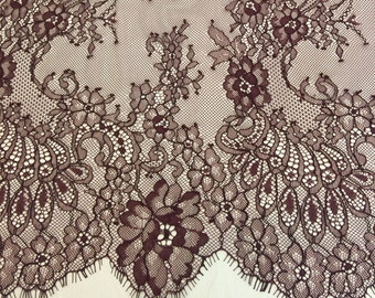 Bordeaux lace fabric, Wedding lace, lingerie lace,  dark purple, red, burgundy, brown chantilly lace fabric  K00246