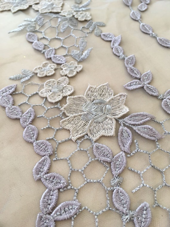Luxury 3D gray  lace fabric K00922 gray Embroidered lace hand made pearl beads 3D flowers Wedding Lace French Lace