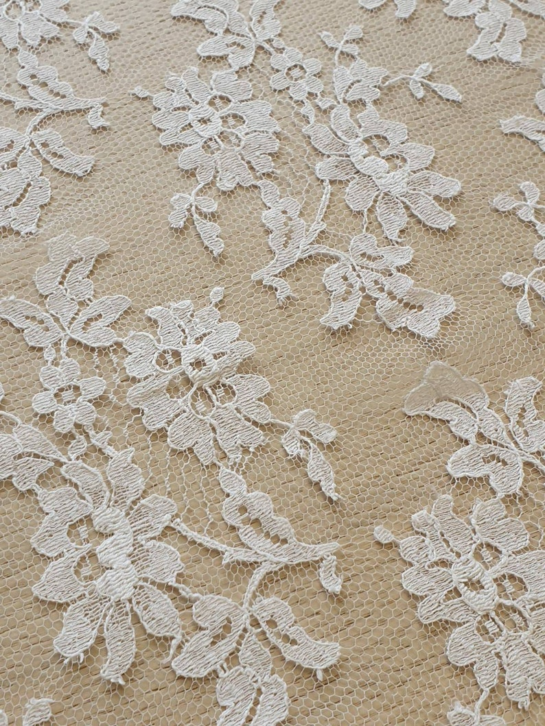 floral lace white chantilly lace B00346 Off white lace fabric French Lace geometric stripes