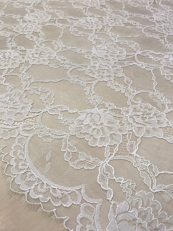 Tissu Ivoire, de dentelle Ivoire, Tissu dentelle d'Alençon, dentelle blanche B00206 26feb9