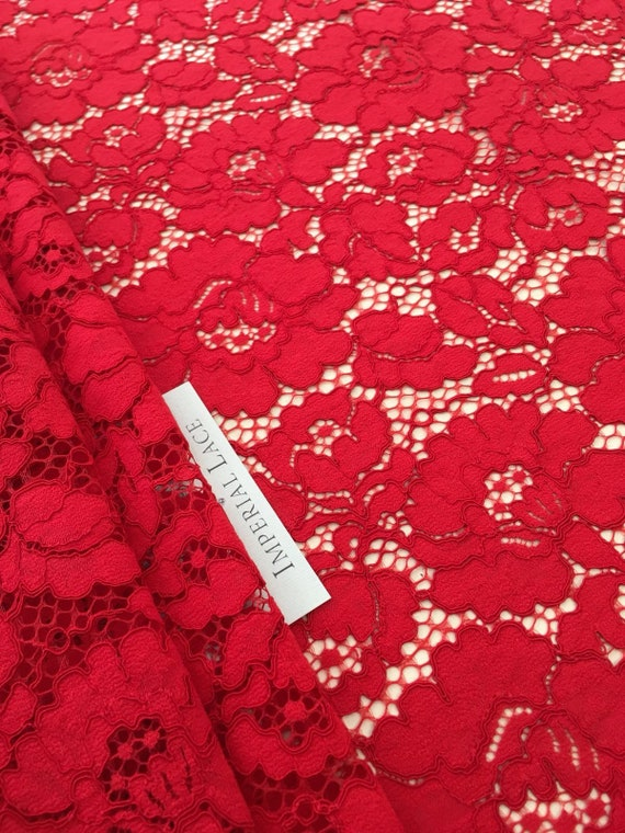 Wedding lace Bordeaux red  lace fabric dark red  alencon lace fabric    K00182 lingerie lace