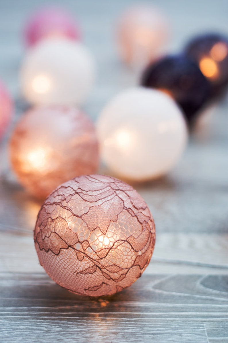 for deco home bedroom wedding Party light hand made lace light balls Lace fabric Balls String Lights 20 Mixed colurs fairy lights