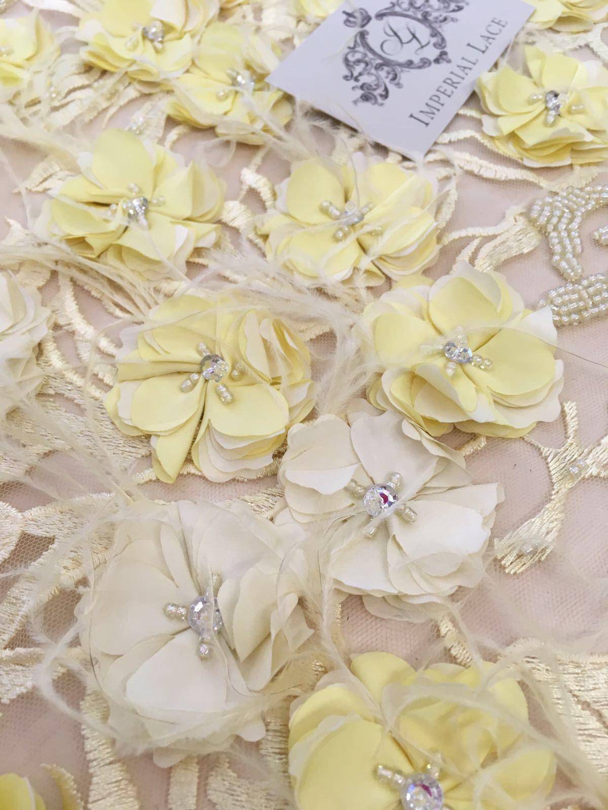 Plumes de tissu jaune 3D dentelle perlé perle dentelle, dentelle, dentelle, Spitzenstoff 3D, Français de voile de dentelle, dentelle de Lingerie, K00607 de dentelle de Chantilly 8b5dc2