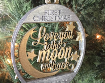 Love You To The Moon And Back   First Christmas Together   Christmas Tree Ornament   Free Gift Box