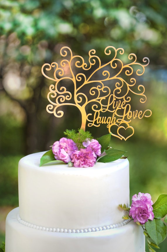 Wedding Cake Topper Live Laugh Love With Hearts Etsy