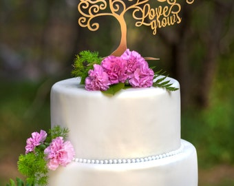 Love Grows Wedding Cake Topper