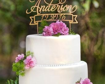 Mr & Mrs Custom Name and Date Wedding Cake Topper