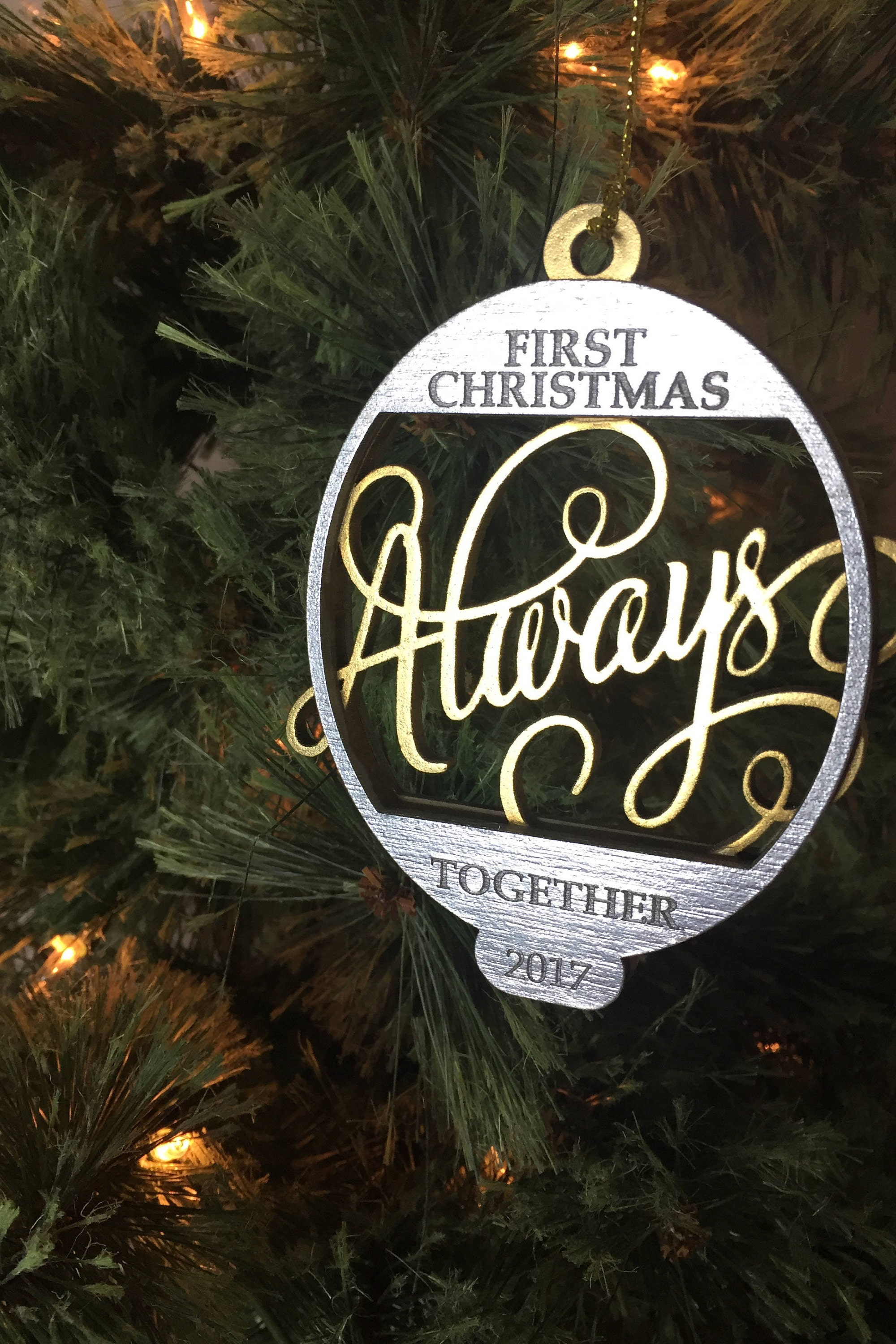 always first christmas together christmas tree ornament free gift box - Always Christmas