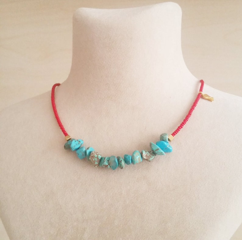 Red and turquoise beaded necklace Turquoise choker Turquoise necklace Beaded necklace summer necklace gift for her Choker jewelry
